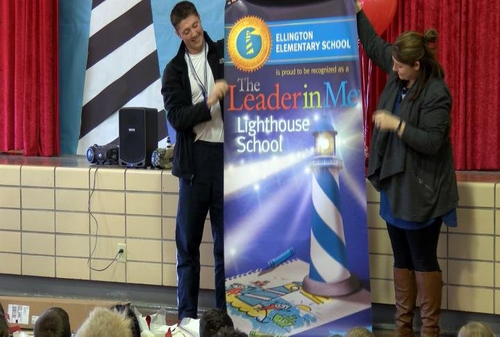 Ellington Elementary received their Lighthouse banner today.