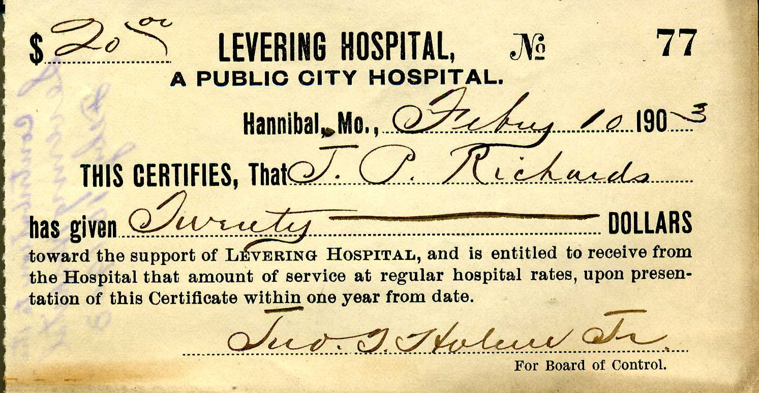 A donation to Levering Hospital from 1903.