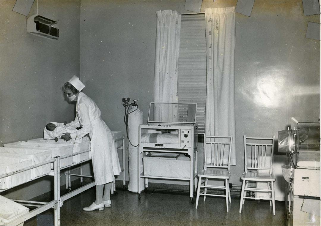 An early 20th century photo of nurses at Levering Hospital.