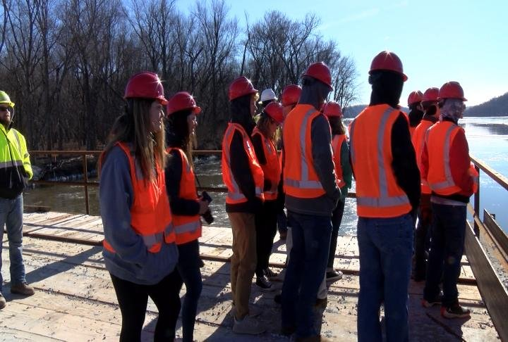 Students from Pittsfield High School visited the construction site on Friday.
