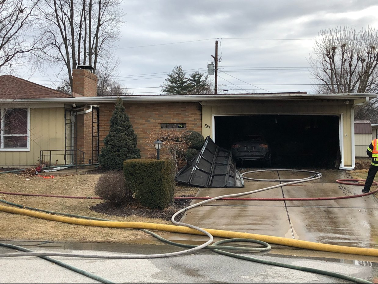 Crews responded Saturday morning to a garage fire.