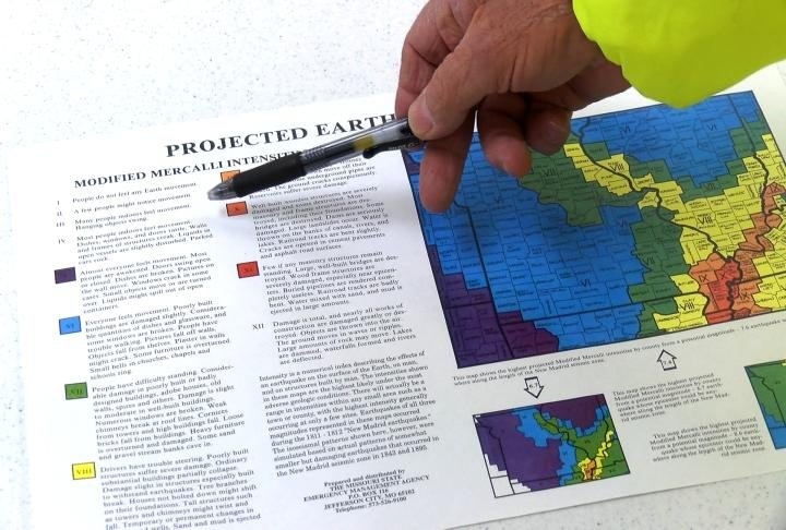 A projected earthquake intensities map.