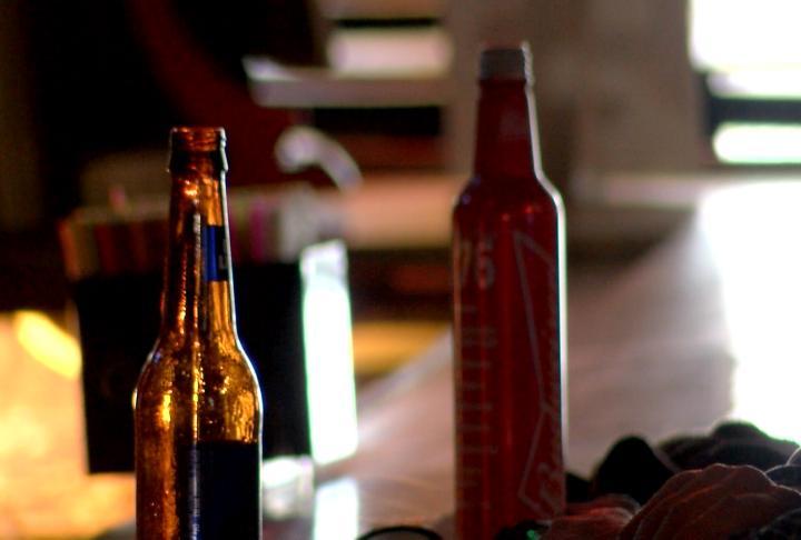 Beer bottles at The Wood Inn.