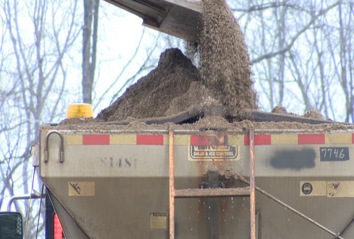 Trucks filling up with salt.