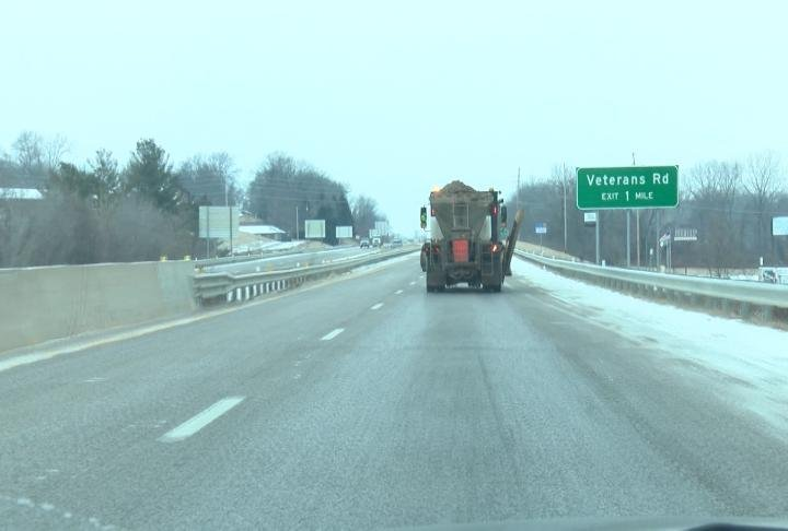 Crews on the highway treating the roads.