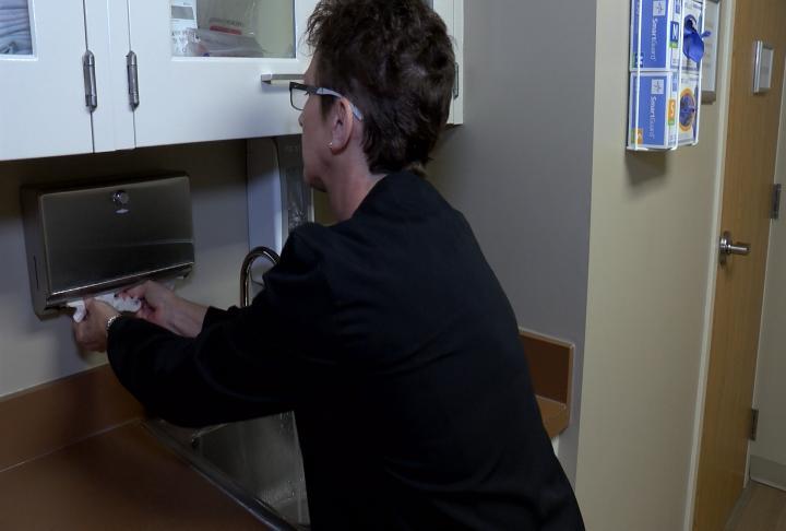 Nurse Stephens hand washing