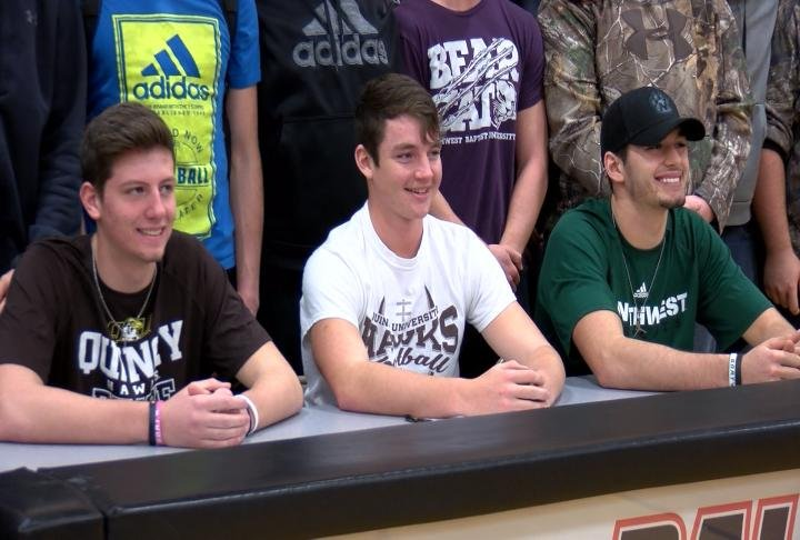 Palmyra's Gabe Goodwin, Noah Mencer, and Peyton Plunkett signed their national letters of intent Wednesday.