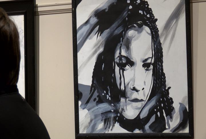 The exhibit featured artwork.