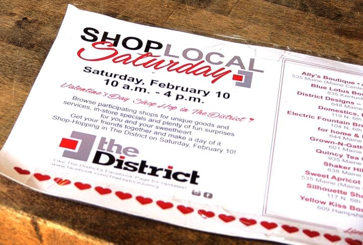 "The ""Shop Local"" Valentine's Day handout."