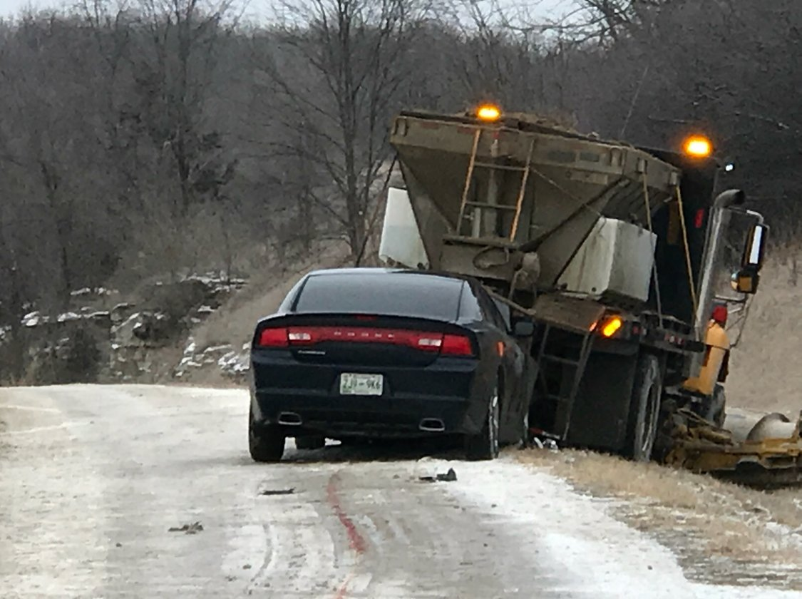 A car rear-ended a MoDOT snow plow in Marion County Sunday morning.