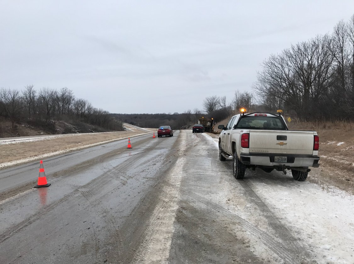 Highway 61, near Hannibal, after a car crashed into a snow plow.