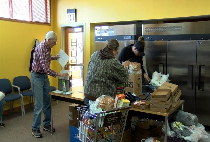 More than 70 families came in for food and help.