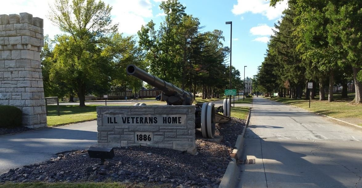 The main entrance at the Illinois Veterans Home in Quincy