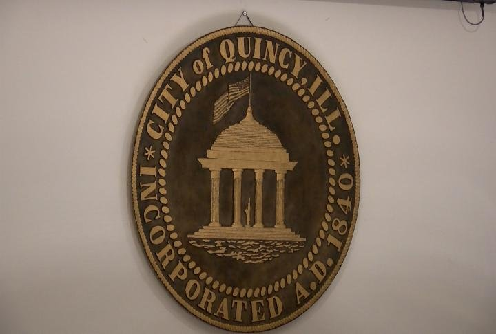 The emblem in chambers at Quincy City Hall.