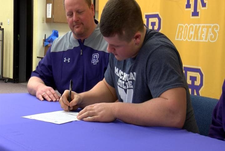 Rushville-Industry's Ethan Downs made his commitment to MacMurray College football official on Wednesday.