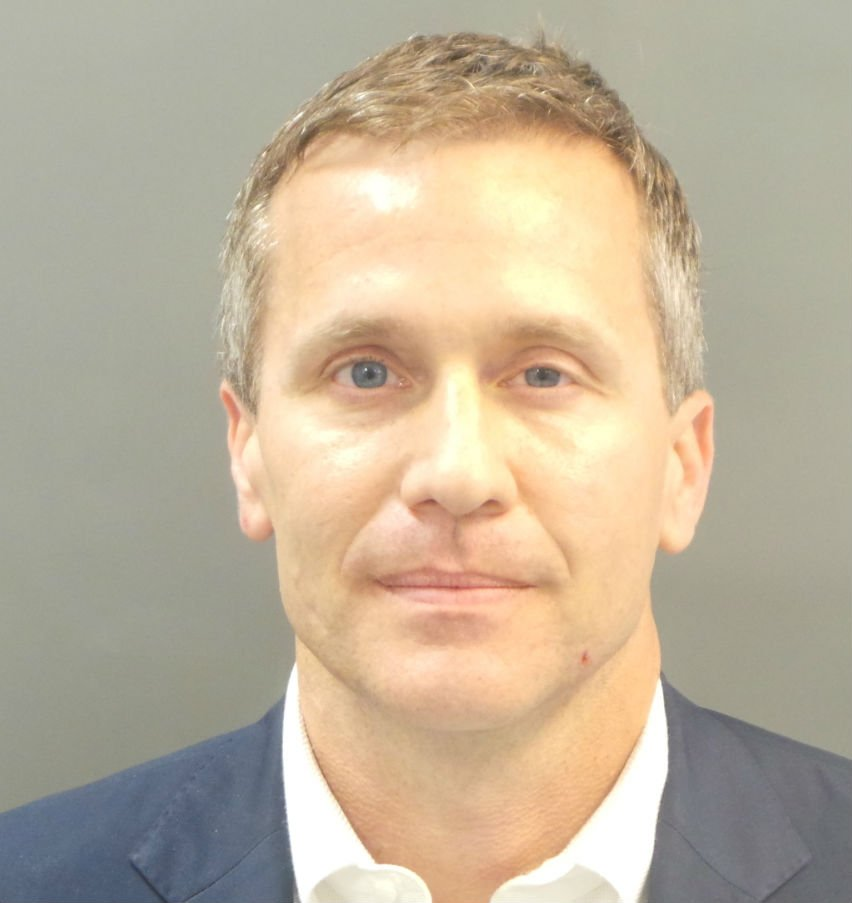 Missouri Governor Eric Greitens' mugshot after being booked in St. Louis Thursday.