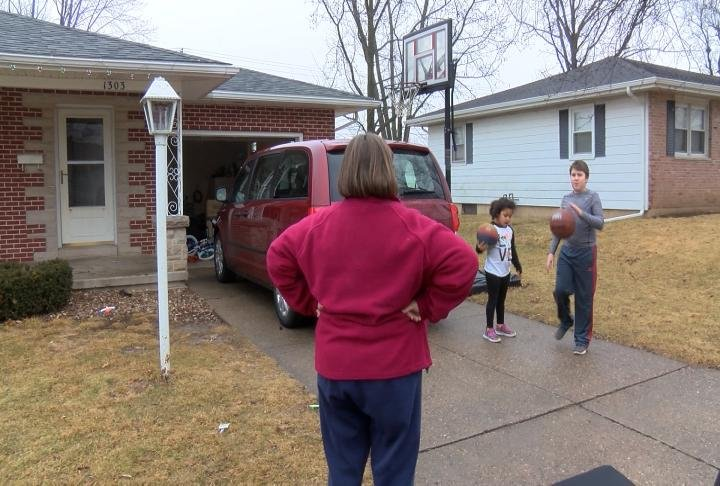 Palmyra resident Cindy Klaus has a basketball hoop in her driveway for her grandkids to use.