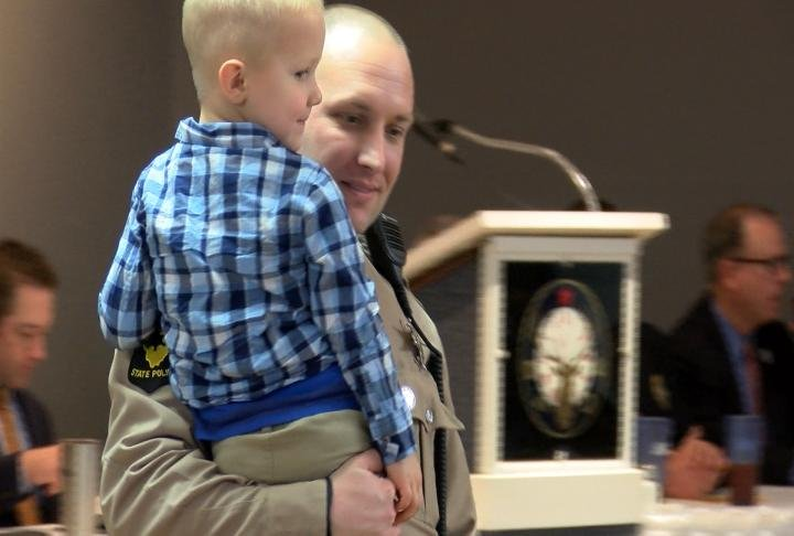Cory Fox was able to celebrate with his family after being awarded Law Enforcement Officer of the Year.