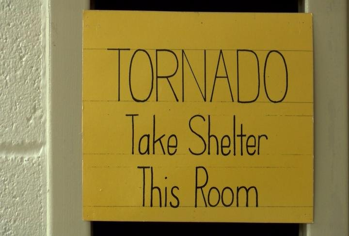 Shelter used during tornado warnings.
