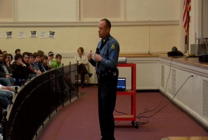 Sgt. Eric Brown speaking to Hannibal high school students