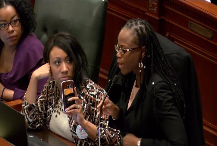 Representative Carol Ammons was one of many in the House chambers on Wednesday, speaking in favor of new gun legislation.
