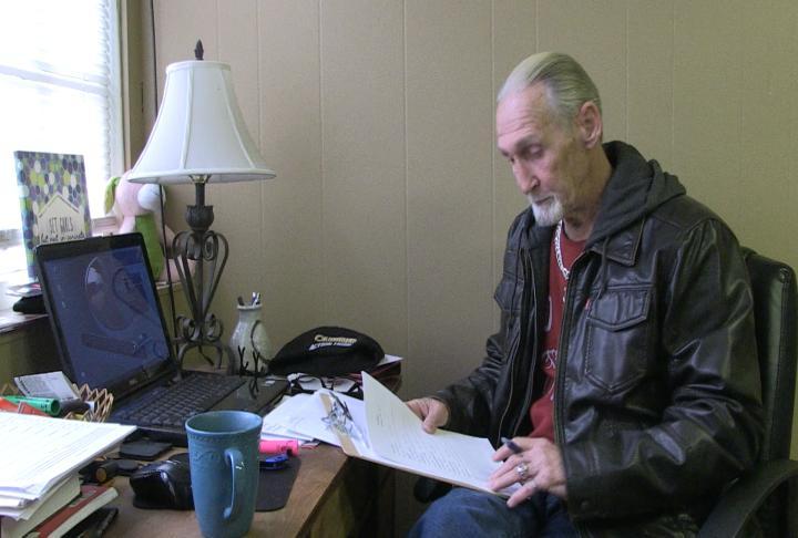 Heroin addict James Beardsley in his apartment.
