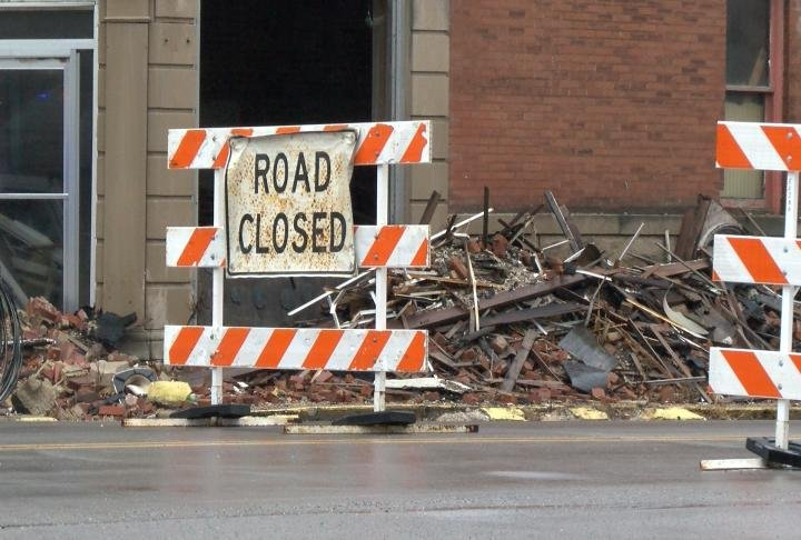 The area where debris fell into the road.