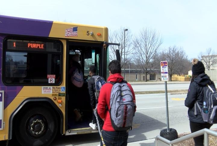 MCPT bus picking up students.