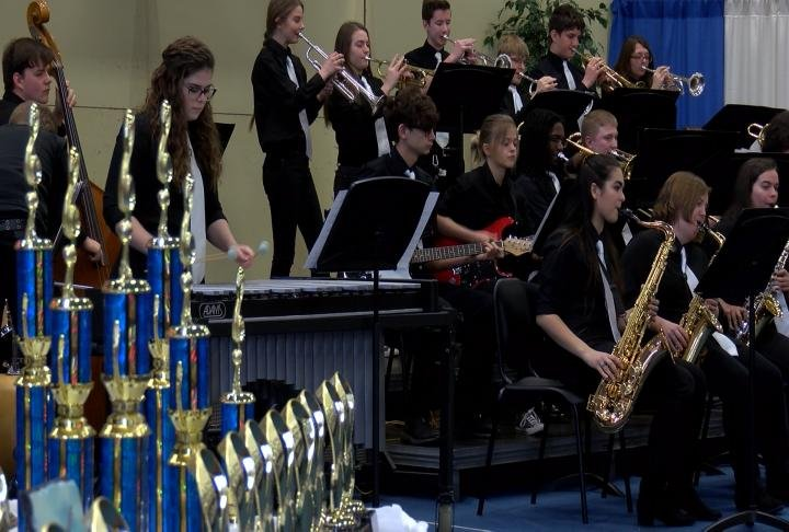 The Jacksonville high school jazz band performing.