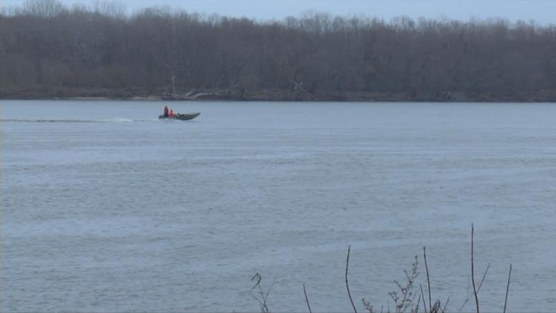 A search boat on the Mississippi River in Pike County, Missouri. Crews are looking for any sign of missing fisherman Earl Fogle.