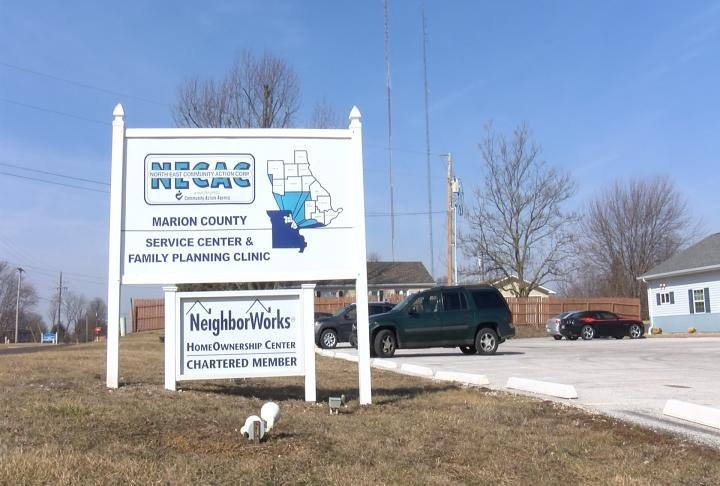 The sign out front of NECAC's Hannibal office.