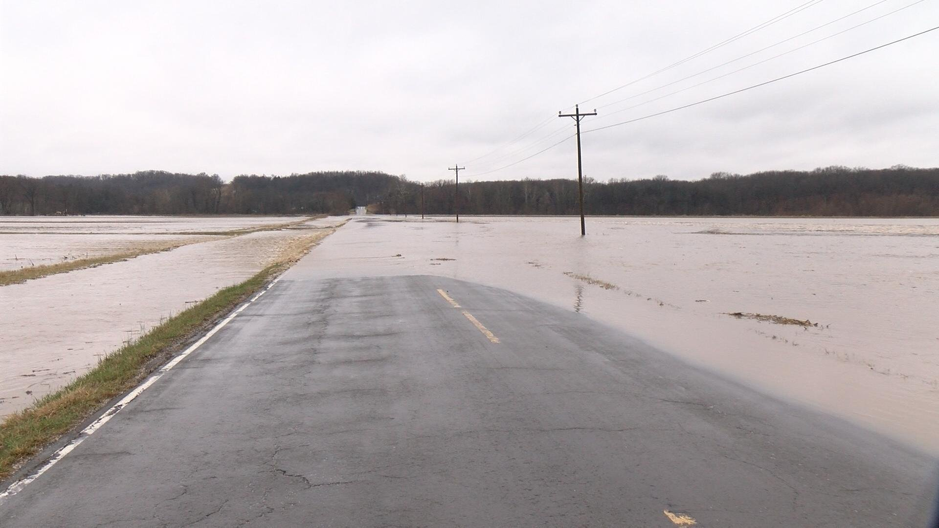 Floodwater covers Highway F in rural Ralls County.