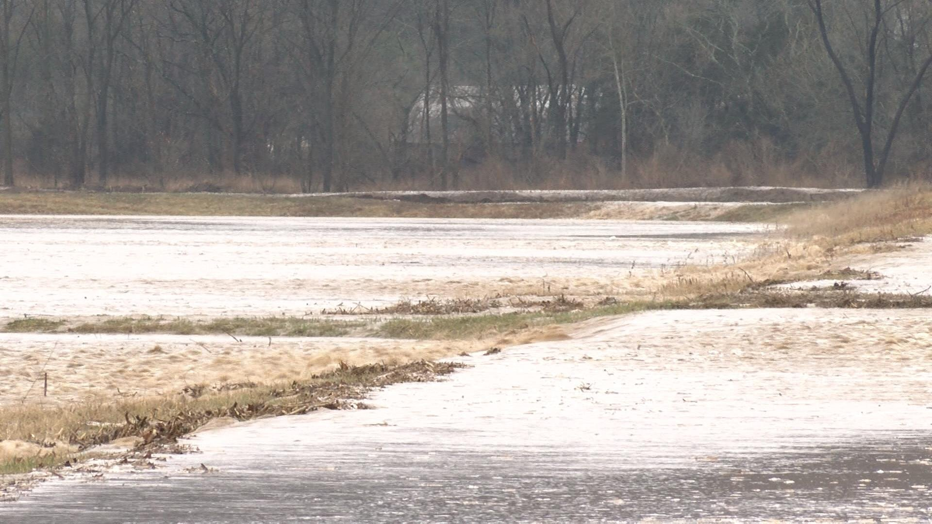 Much of the area around Highway F was covered in floodwater.