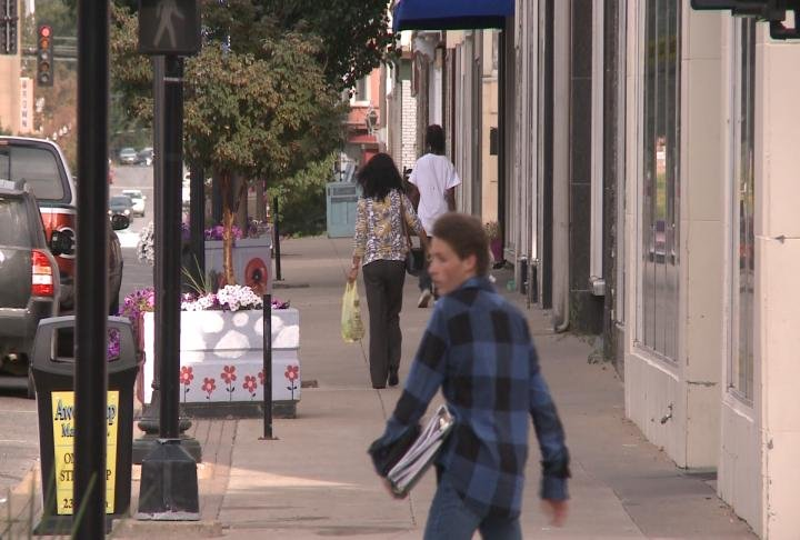 Shoppers in downtown Quincy