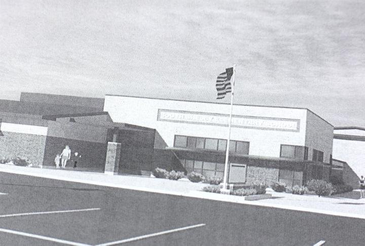 A rough sketch of what the new elementary school in Shelby County's school district will look like.