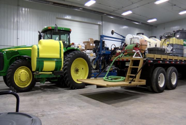 Equipment still in the barn in April.