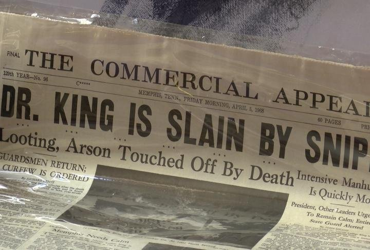 The newspaper announcing Dr. King's assassination on April 4, 1968.