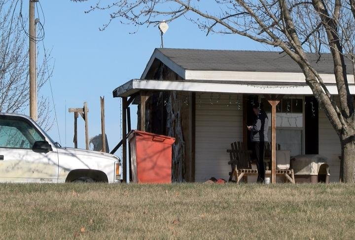 Damage to a home off Highway Ubetween Palmyra and Monroe City. after a fire Wednesday afternoon.