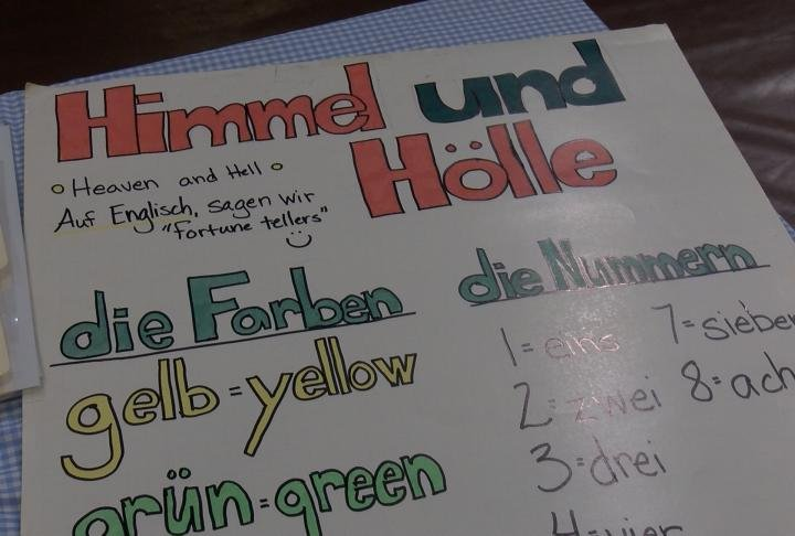 Local fourth graders learned German phrases at QND.