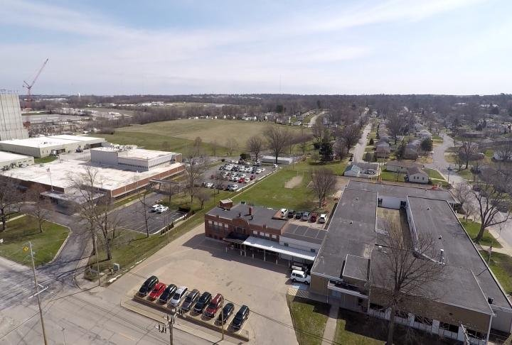Drone view of Ellington School