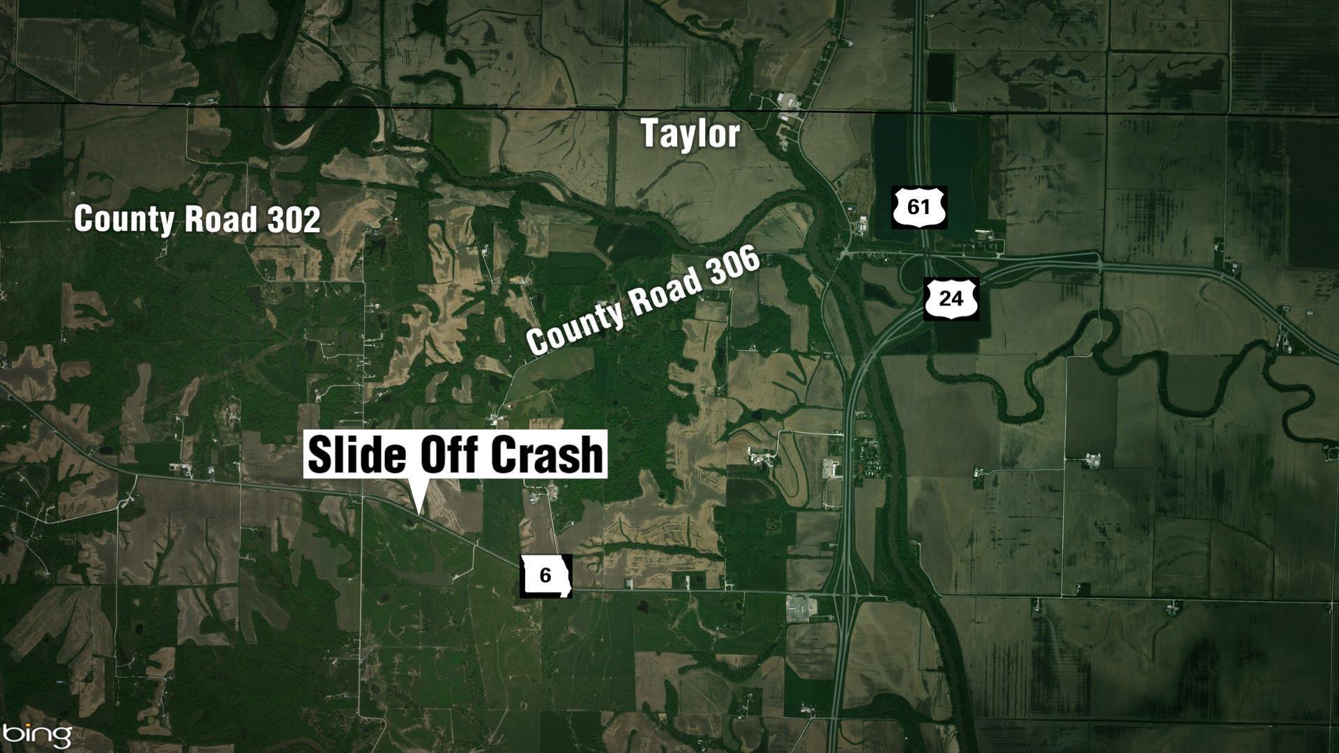 Location of crash site on Highway 6 in Missouri.