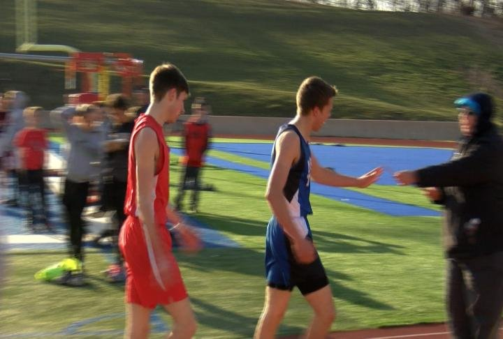 Mark Twain's Devin Neff (right) and Clark County's Nathan Frazee finished one-two in the mile at the Jerry Ball Relays.