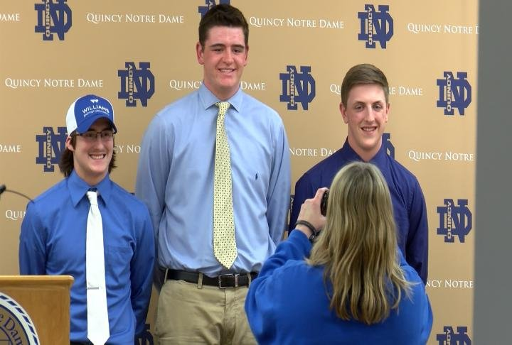 QND's Zach Haley, Jase Wallingford, and Nick Wellman made their college commitments official Wednesday.