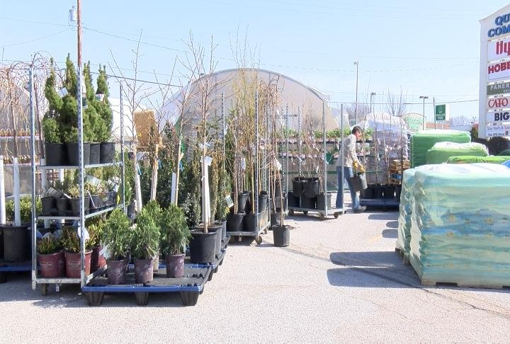 Hy-Vee Garden Center on Broadway was able to set up this week.