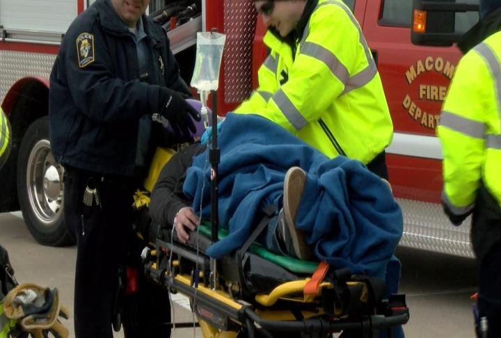 Emergency crews show how they would respond at a drunk driving accident.