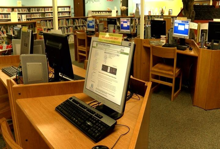 Computers and technology in the kids section of the library.