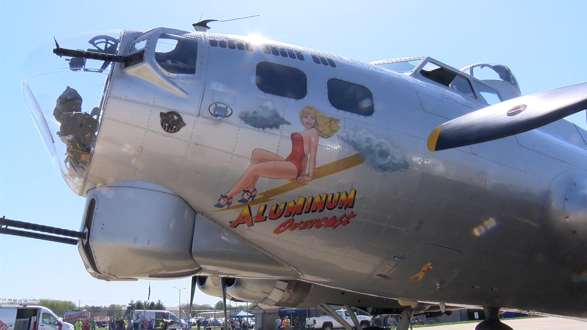 "Nose art from the B-17 ""Aluminum Overcast""."