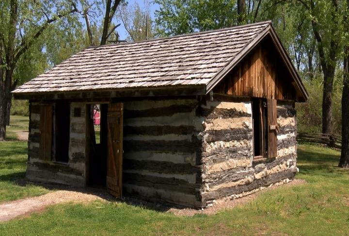 The log cabin village has historic structures.