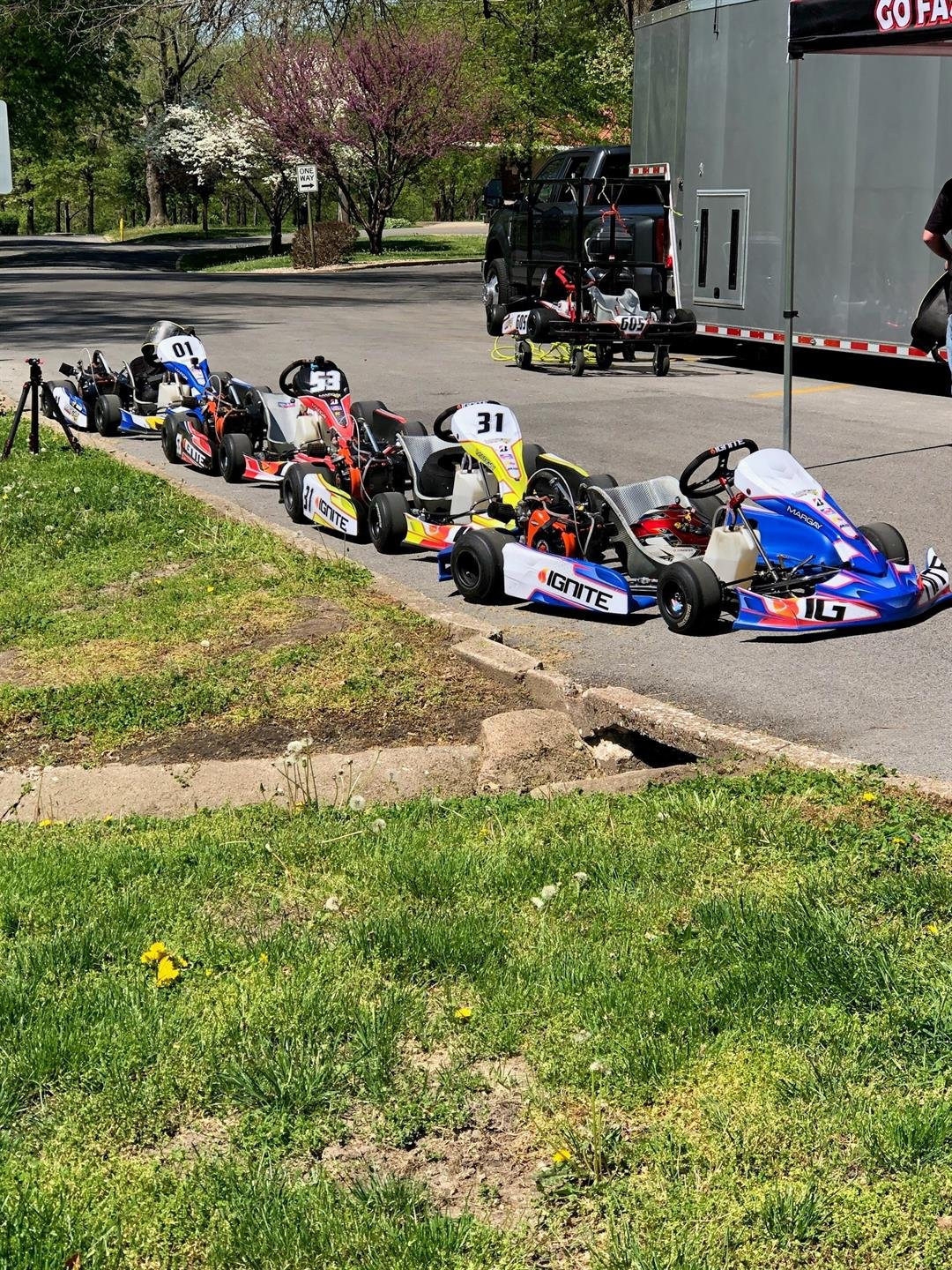 Karts lined up for the test.