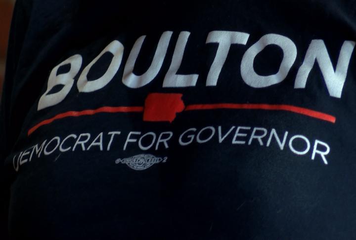 Bouton rally shirts seen Monday morning.